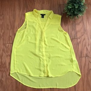 H&M Canary Yellow Button Down Blouse Top Bright